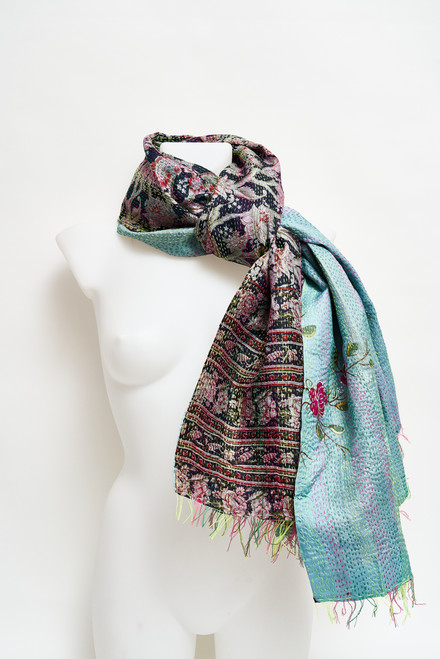 SIlk   upcycled scarf with Roses