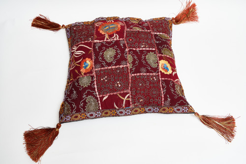 Red upcycled embellished small Kapoc pillow