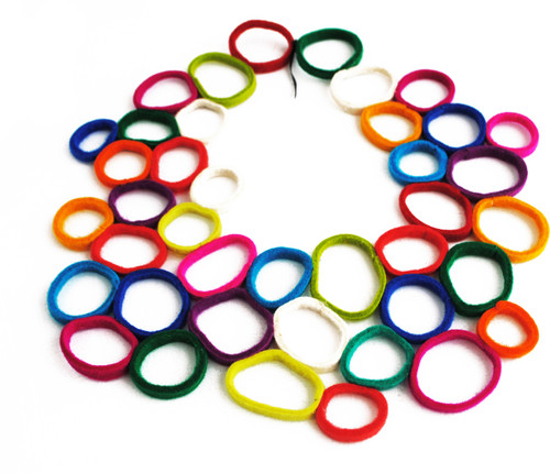 'Vacide Erda Zimic' Multi-coloured Loop Felt Necklace