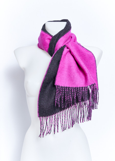 Baby Alpaca Scarf in Blue Fuschia