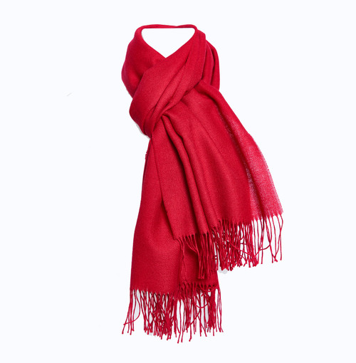 Monogrammed Baby Alpaca Wool Scarf in red