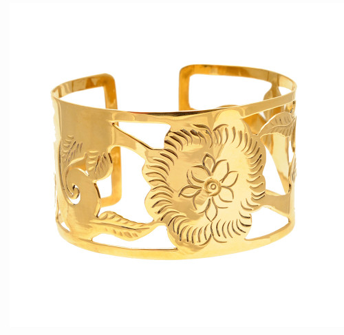 Craftworks Cambodia upcycled bronze flower motif cuff