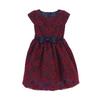 Navy/Burgundy Floral Lace Dress