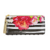 Oil Cloth Bag - Floral Black Stripe