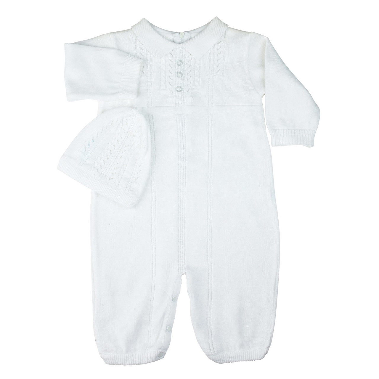 10cafdeb6b38 Feltman Brothers White Baby Boy Sweater Knit Romper with Hat - Adi ...