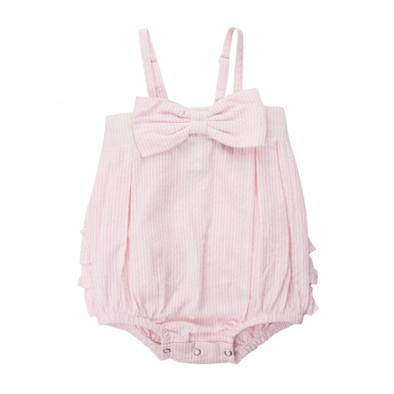 e230907c4 Ruffle Butts Pink Seersucker Bow-Front Bubble Romper - Adi Treasures