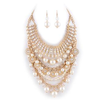 Pearl Multi Jewel Ball Bib Necklace Set