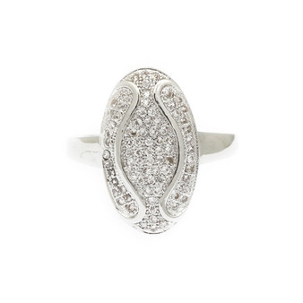 Oval Dorm Cubic Zirconia Micro Pave Rings