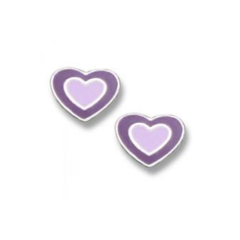 Emily by Tomas Sterling Silver Purple Enamel Heart Stud Earring