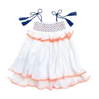 Sophie Catalou  White Layered Smocked Dress