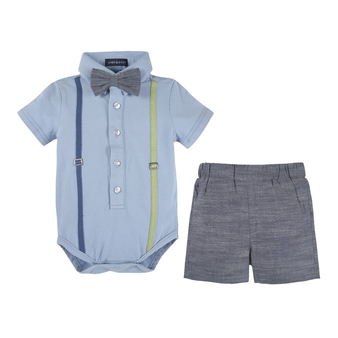 Andy & Evan Blue Polo Shirtzie & Woven Short