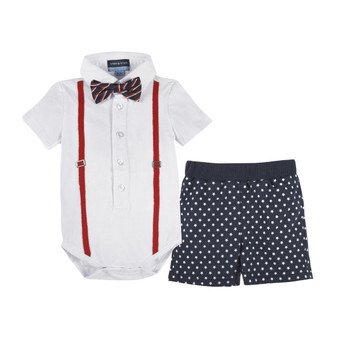 Andy & Evan White Polo Shirtzie & Woven Short