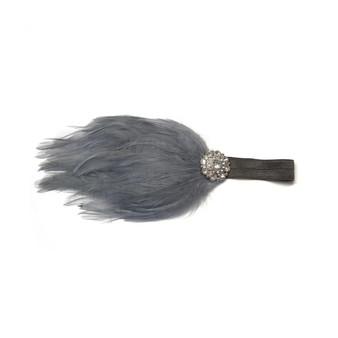 Little Bits Chic Baby Grey Feather Fascinator Headband