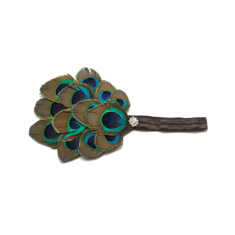 Little Bits Chic Girls Peacock Feather Fascinator Headband