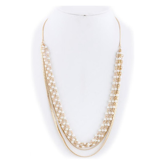 Pearl Ball Flat Chain Layer Necklace