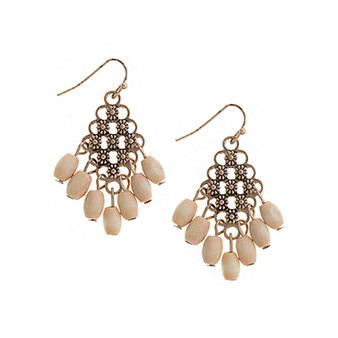 Floral Etched Earrings in Ivory