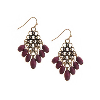 Floral Etched Earrings in Burgundy