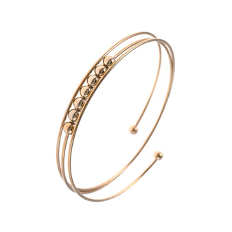 Beaded Bangle Wrap Bracelet In Gold