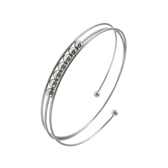 Beaded Bangle Wrap Bracelet In Silver