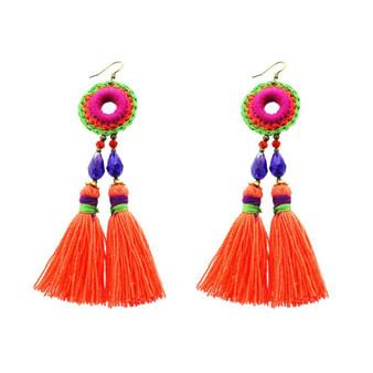 Panacea Circle Embroidery and Orange Tassel Earrings
