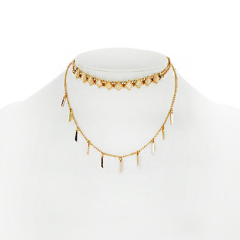 Gold Two Row Choker Fringe Necklace