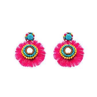 Panacea Hot Pink and Turquoise Fringe Statement Earrings