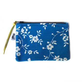 Small Zipper Pouch in Blue & White Flower Print