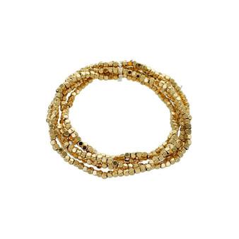 Gold Beaded Stretch Bracelet Set