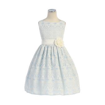 Light Blue Sweet Vintage Lace Dress