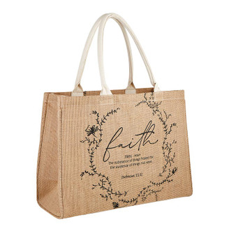 Faith Jute Tote Bag