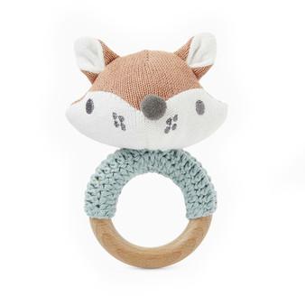Felix Fox Knit Baby Ring Rattle