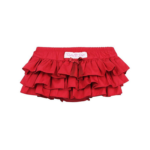 Ruffle Butts Red Sateen Skirted Bloomer