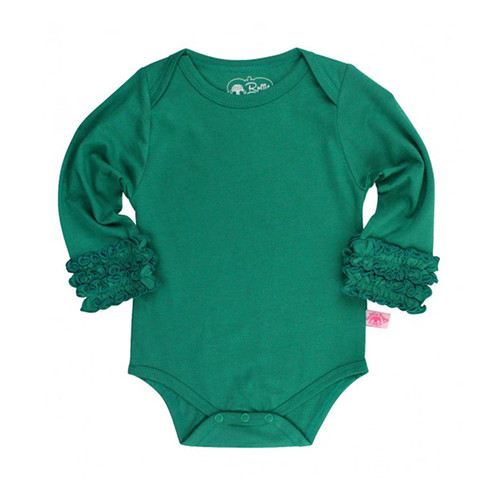 Ruffle Butts Emerald Ruffle Long Sleeve Layering Bodysuit