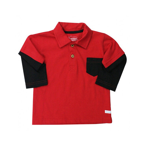 Rugged Butts Red And Black Layered Polo Shirt