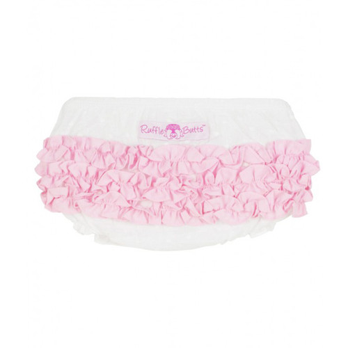 Ruffle Butts Swiss Dot w/Pink Woven RuffleButt