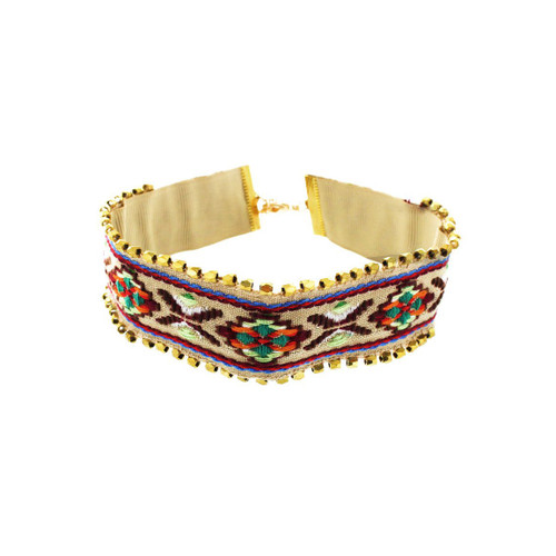 Panacea Beige Embroidered Beaded Choker Necklace