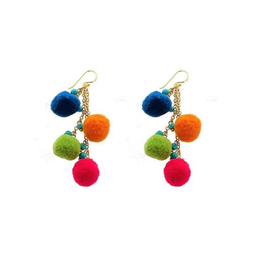 Panacea Multi Colored Pom Pom Linear Earrings