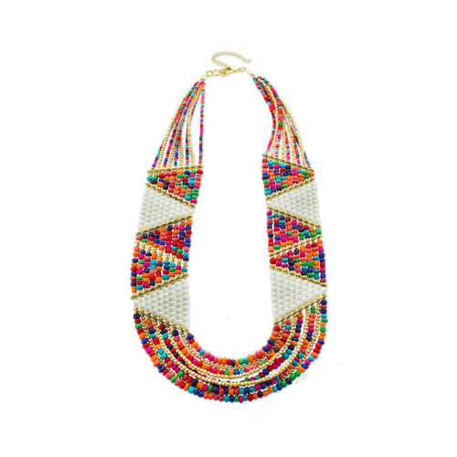 Panacea Multi-Colored Beaded Tribal Statement Necklace