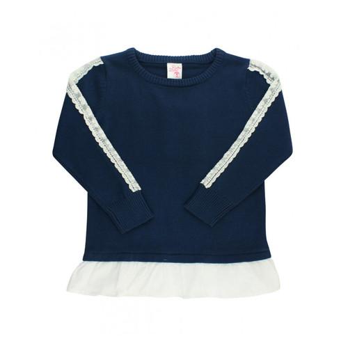 Navy & Lace Ruffle Sweater