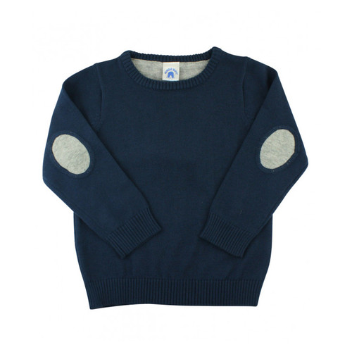 Navy Sweater w/ Elbow Patches