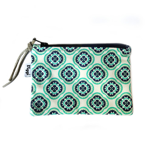 Small Zipper Pouch in Teal/Navy Print