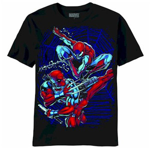 Marvel Comics T-Shirt Deadpool & Spider Man Dual Danger (BLK