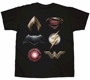 "Justice League T-Shirt: Logos Stacked ""Black)"