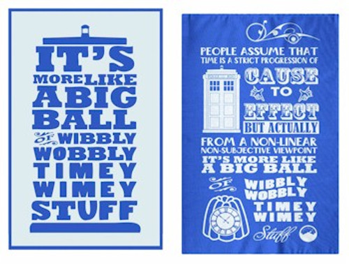 Doctor Who Dish Towels - Wibbly Wobbly Timey Wimey