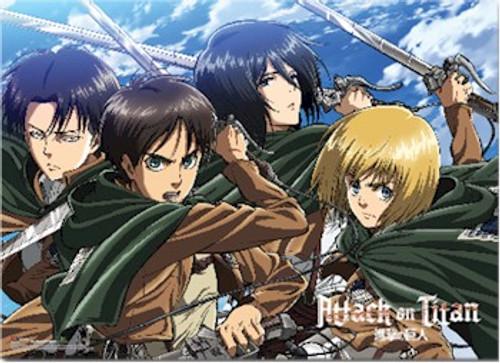 Attack on Titan Wallscroll - Levi, Eren, Mikasa & Armin
