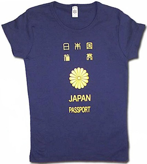 Japanese Passport Babydoll T-Shirt (Blue)