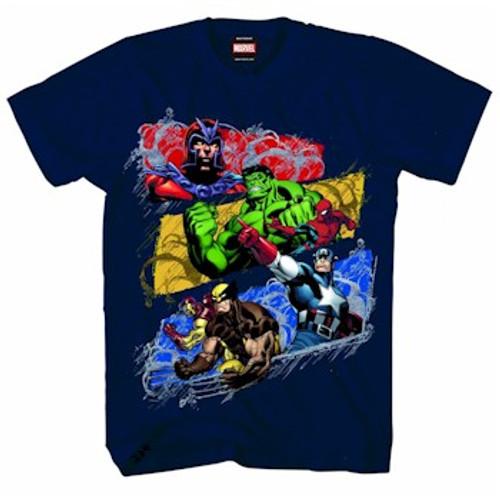 Marvel Comics T-Shirt Marvel Heroes Heavy Rain (Navy)