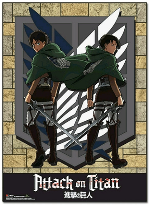 Attack on Titan Wallscroll - Levi & Eren Scouting Regiment