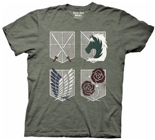 Attack On Titan T-Shirt 4 Shields (Charcoal)