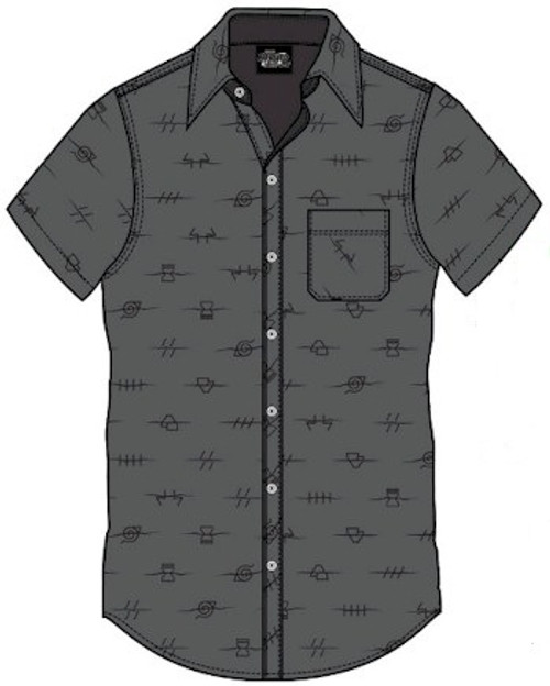 Naruto Shippuden Button Up Shirt Anti Village Leaf (Charcoal
